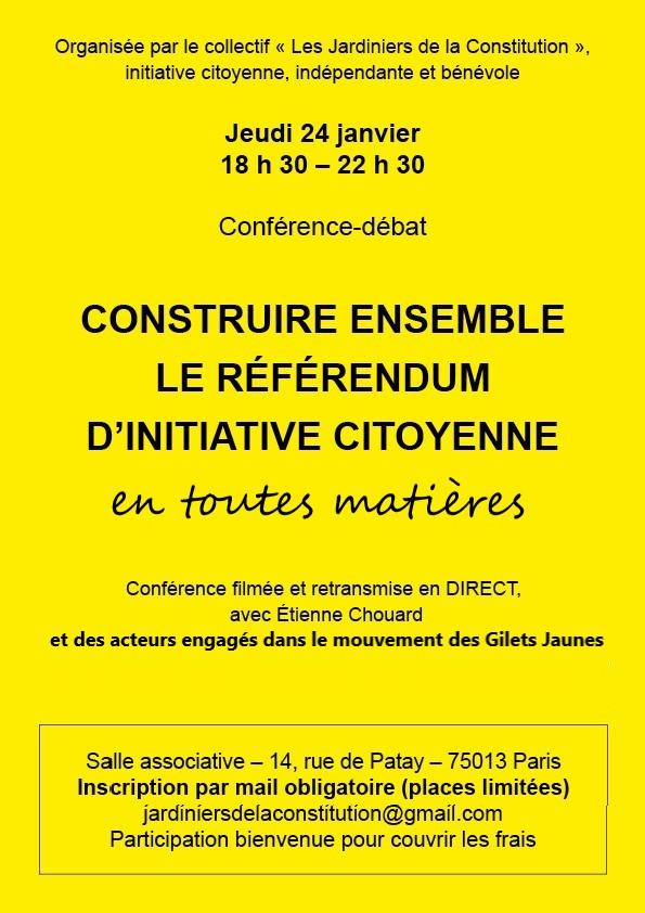 Rendez-vous à PARIS le 24 janvier prochain, pour construire ensemble le RIC ETM