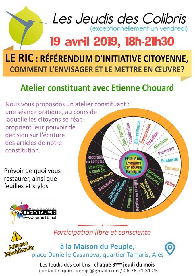 [Gilets jaunes constituants sur le RIC] Rendez-vous à Alès vendredi 19 avril 2019 à 18 h, avec les Colibris