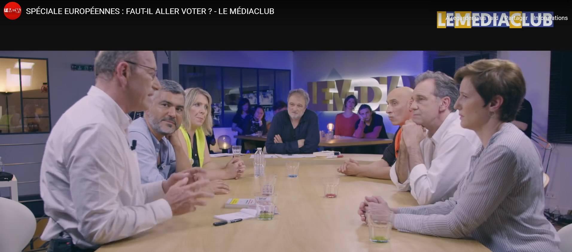 [Courageusement] invité par Denis Robert sur Le Média TV mardi 21 mai 2019: élections européennes, gilets jaunes, RIC et règles de la représentation