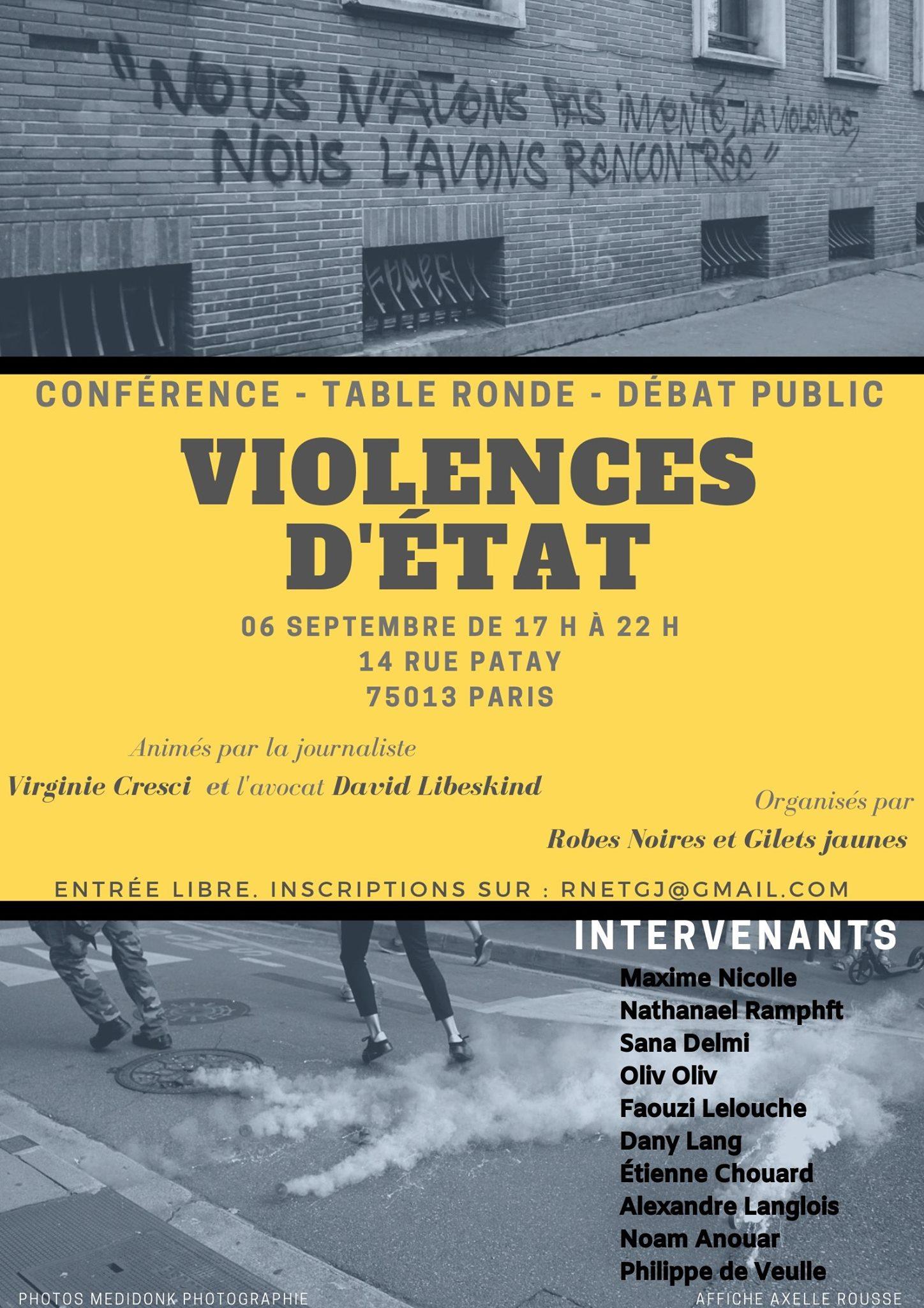 VIOLENCES D'ÉTAT: rendez-vous le 6 sept 2019 à Paris pour en parler avec les Robes Noires et Gilets Jaunes