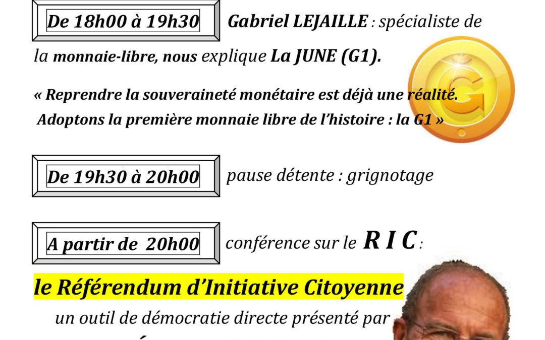 Rendez-vous à Millau mardi 5 novembre 2019 pour parler de monnaie libre et de RIC + ateliers constituants, avec les Gilets jaunes de l'Aveyron